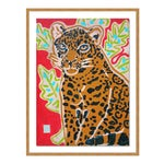 Red Jaguar by Jelly Chen in Gold Framed Paper, Small Art Print
