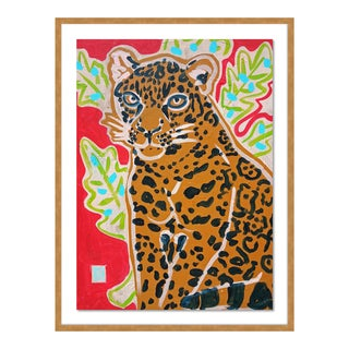 Red Jaguar by Jelly Chen in Gold Framed Paper, Small Art Print For Sale