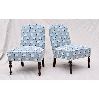 """Scalamandre, """" Ewe Too in Blue"""" Petite Antique Slipper Chairs Preview"""