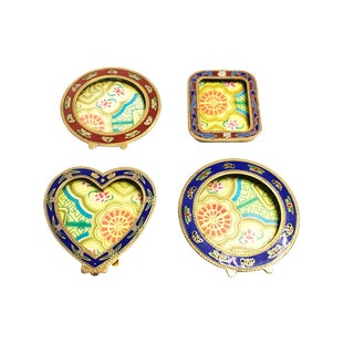 Vintage Mid Century Hand Crafted Cloisonné Mini Picture Frames - Set of 4 For Sale