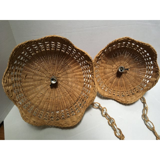 Vintage Wicker Pendant Lights - a Pair For Sale In Philadelphia - Image 6 of 7