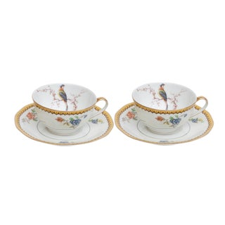 Theodore Haviland Limoges Porcelain Teacups & Saucers, a Pair For Sale