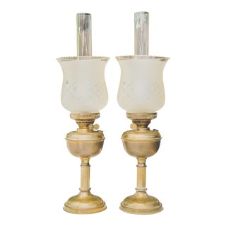 Antique Brass Hurricane Lamps - a Pair For Sale