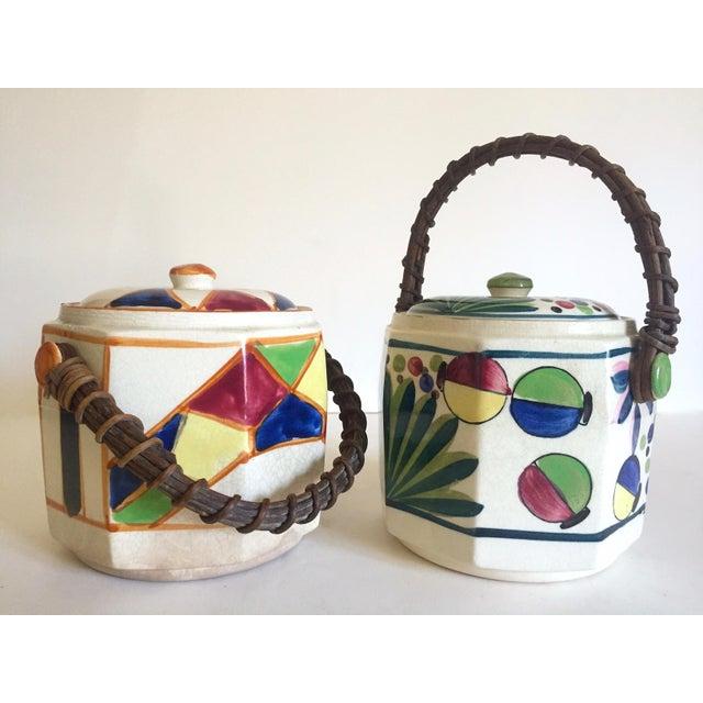 Rare Vintage 1930's Art Deco Japan Hand Painted Porcelain Handled Ceramic Biscuit Barrel Jars - Set of 2 For Sale - Image 10 of 13