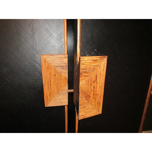 1980s Boho Chic Tall Bamboo and Rattan Cabinet For Sale In West Palm - Image 6 of 8