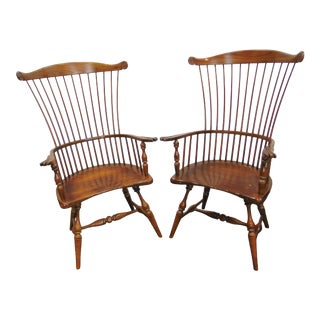 Frederick Duckloe Cherry Combback Windsor Chairs - a Pair For Sale
