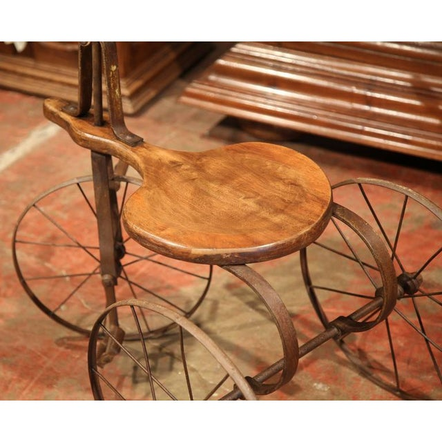 Metal 19th Century French Iron and Wood Tricycle in Wonderful Working Condition For Sale - Image 7 of 8