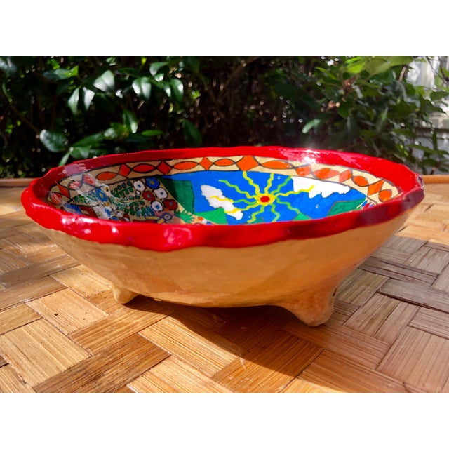 Boho Chic Mexican Wedding Folk Art Hand-Painted Pottery Bowl For Sale - Image 3 of 8
