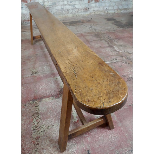 19th Century 19th Century Antique Walnut Farm Bench For Sale - Image 5 of 11