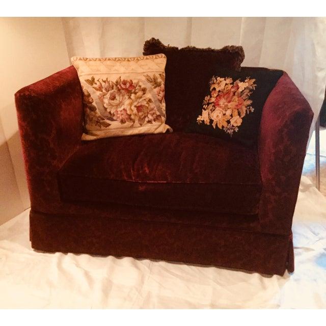 Bordeaux Cotton Velvet Damask Chair & a Half For Sale - Image 10 of 10