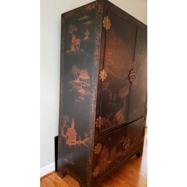 Maitland - Smith Maitland Smith Chinoiserie Entertainment Cabinet For Sale - Image 4 of 12