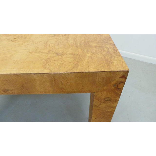Mid Century Modern Milo Baughman Thayer Coggin Olive Burlwood Parsons Dining Table With 2 Leafs For Sale - Image 9 of 11