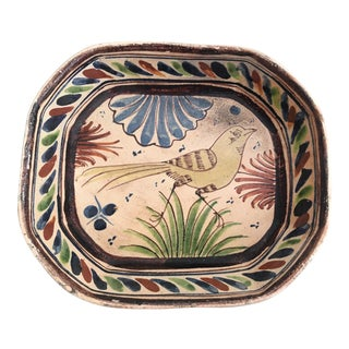 1940's Folk Art Mexican Tlaquepaque Pottery Bird Dish