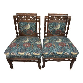 Early 20th Century Vintage Hand Carved Wooden Upholstered Side Chairs- A Pair For Sale