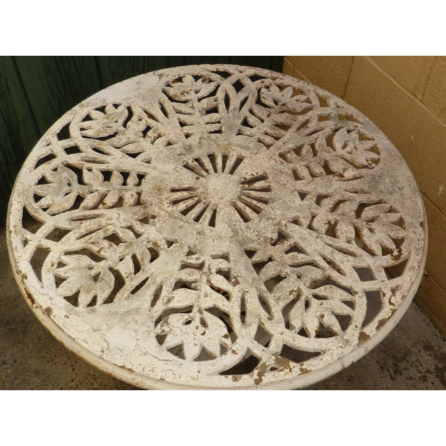 Shabby Chic Antique Cast Iron Garden Table For Sale - Image 3 of 6
