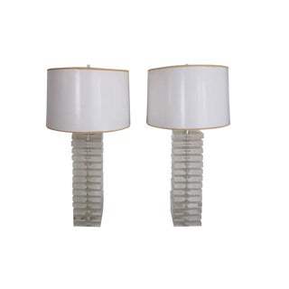 Pair Tall Designer Postmodern Lucite Table Lamps by George Bullitt For Sale