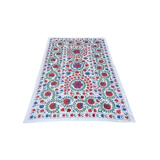 Suzani Handmade Floral Table Cover For Sale