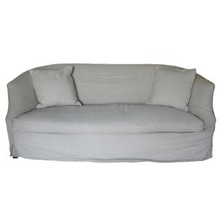Modern Lee Industries Dove Grey Apartment Sized Slipcovered Sofa For Sale
