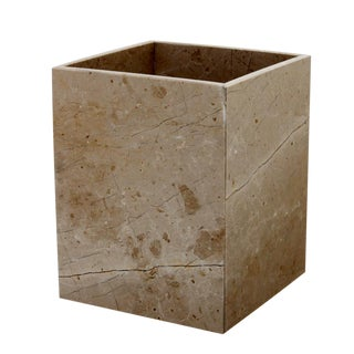 Tan Marble Waste Bin For Sale