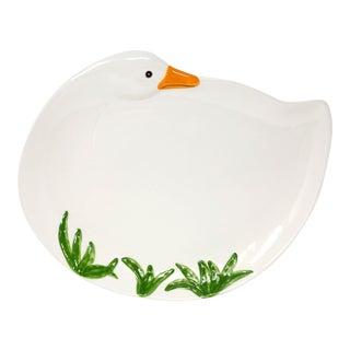 "16"" Vintage Metlox California Ceramic Swan Platter For Sale"