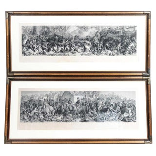 19th C. 4 Foot Long Antique English Battle Scene Engravings - a Pair For Sale