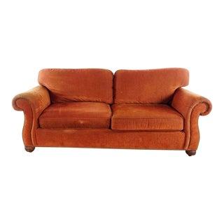 Modern Sherrill Furniture Orange Velvet Upholstered Two Cushion Sofa For Sale