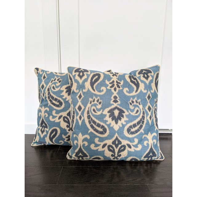 Muted Blues Ikat Pillows - A Pair For Sale In Portland, ME - Image 6 of 6