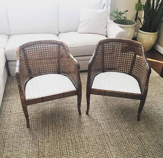 Vintage Barrel Back Cane Faux Bamboo Chairs   A Pair For Sale   Image 5 Of