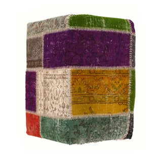 Pasargad N Y Patchwork Lamb's Wool Ottoman For Sale