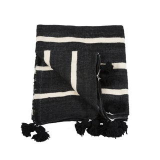 Queen Size Moroccan Pom Pom Blanket For Sale