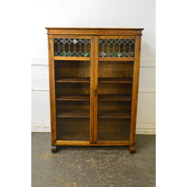 Glass Antique Oak 2 Door Leaded Glass Door Bookcase For Sale - Image 7 of 13 - Antique Oak 2 Door Leaded Glass Door Bookcase Chairish