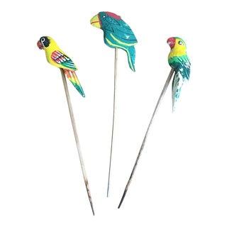 Vintage Boho Hand-Carved Bird Ornaments - Set of 3 For Sale