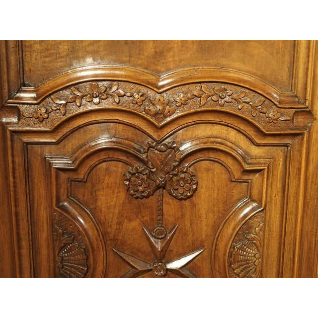 """Early 18th Century Early 1700's French Walnut Wood Chateau Armoire, """"The Order of Saint Louis"""" For Sale - Image 5 of 11"""