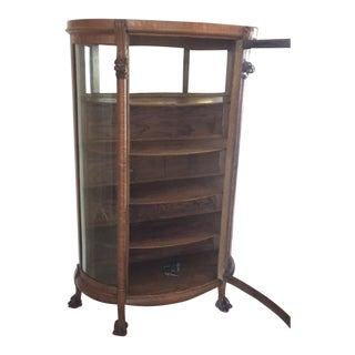 Late 19th Century Vintage Victorian Tiger Oak Bow Front Cabinet For Sale
