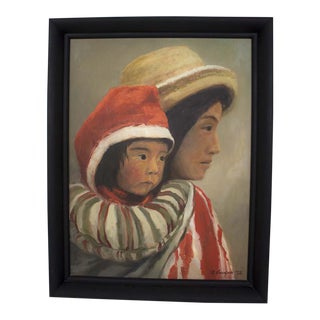 1970s Vintage Peruvian Mother & Child Oil Painting For Sale