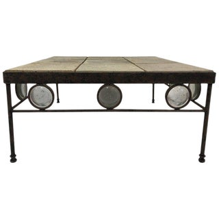 Italian Wrought Iron and Stone Top Coffee Table For Sale