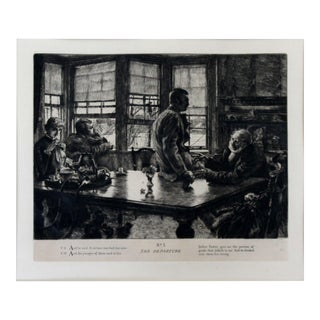 Antique 19th Century Framed Jean Francois Millet Gruel Feeder 22/4 Etching For Sale
