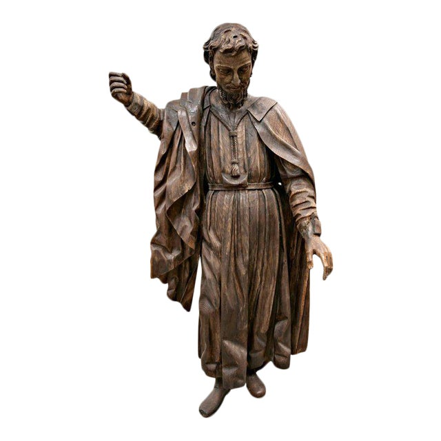 18th Century Life Size Carved Wood Statue of St. Joseph For Sale