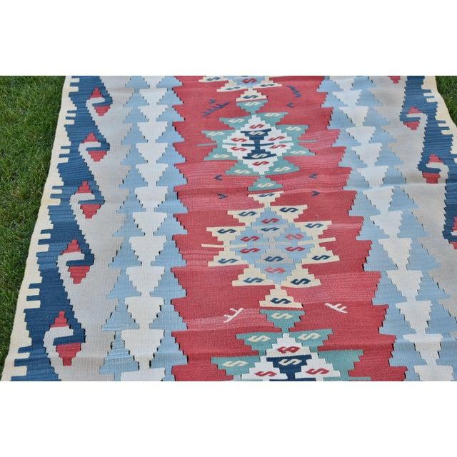Textile 1990s Vintage Turkish Anatolian Oushak Kilim- 3′7″ × 7′5″ For Sale - Image 7 of 10