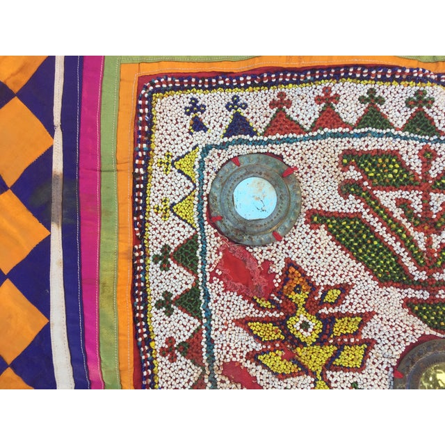 Glass Vintage Beaded Indian Tribal Wall Hanging For Sale - Image 7 of 8