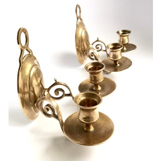 Vintage Candlestick Holders Brass Sconces - A Pair Preview
