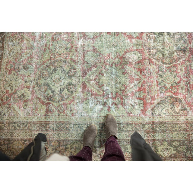 "Islamic Vintage Distressed Mahal Carpet - 10'5"" X 13'11"" For Sale - Image 3 of 13"