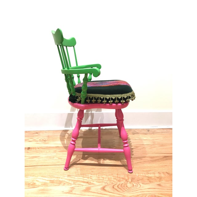 Vibrant Colorful Comb Back Chairs - A Pair - Image 4 of 7