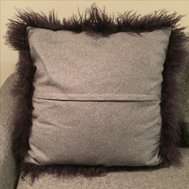 Mongolian Fur Pillow For Sale - Image 5 of 6