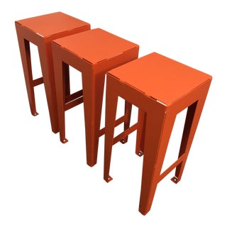 Modern Custom Metal Stools- Set of 3 For Sale