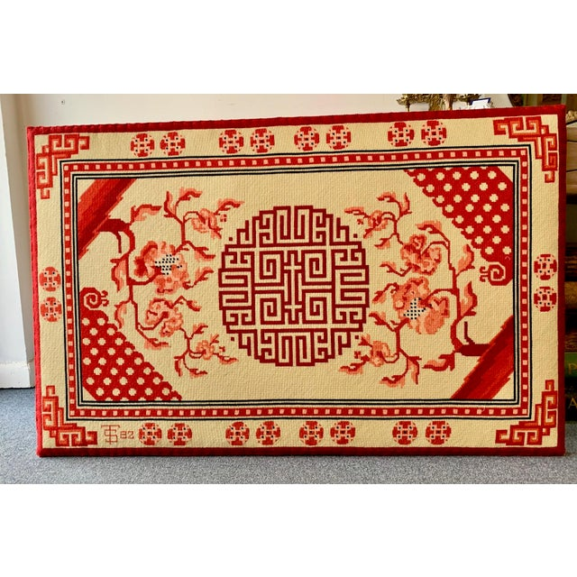 Beautiful and vibrant colored Chinese needlepoint art on a wood frame, art goes to the edge.
