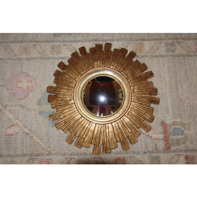 Gold Vintage Mid Century Mid-Century Modern Sunburst Convex Gold Wall Mirror For Sale - Image 8 of 8