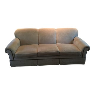 White Velvet Sofa With Black Braided Trim For Sale