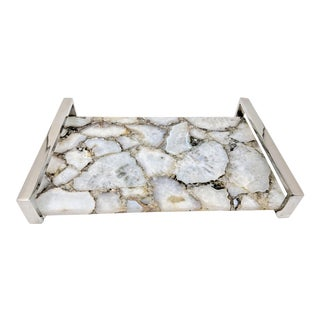 Jonathan Adler Inspired Agate Slice and Chrome Serving Tray For Sale
