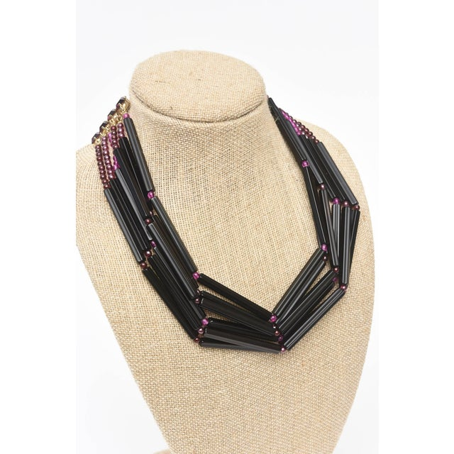 Yves Saint Laurent Rare Black and Purple Glass 6 Strand Necklace Vintage For Sale - Image 9 of 11